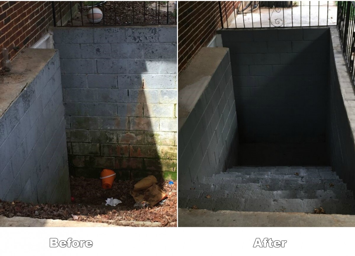 Outside Basement Stairs Before & After